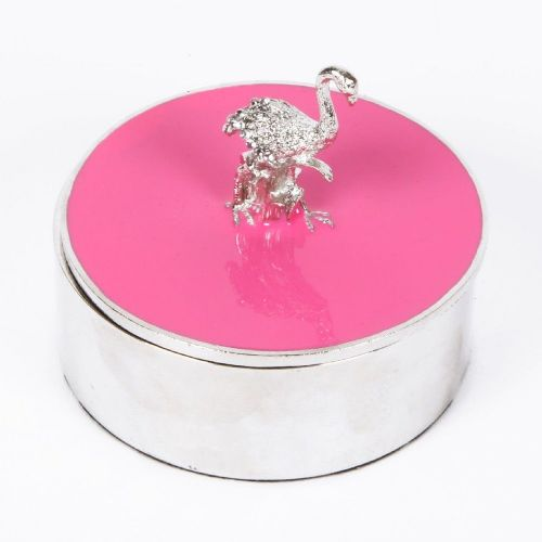 Pink Flamingo Trinket Jewellery Box - Round Pink and Silver Plated Flamingo Gift